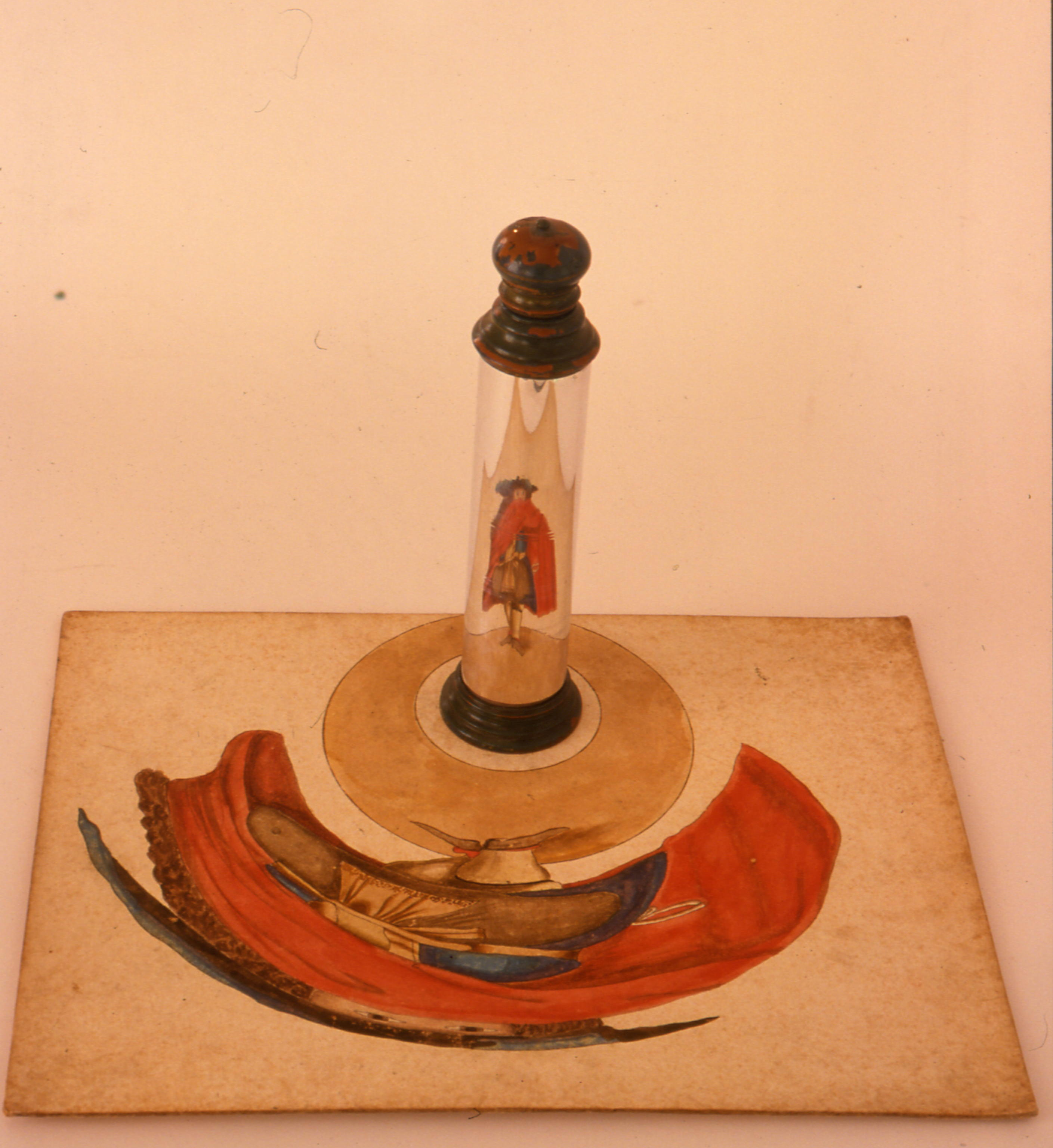 Cylindrical mirror with thirteen anamorphosis paintings